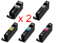 Multipack da 10 cartucce compatibili Canon PGI-525BK/CLI-526BK/C/M/Y